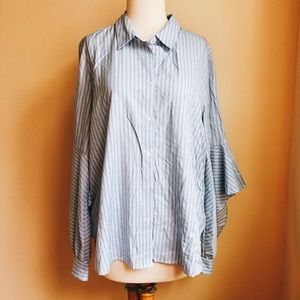 Mossimo Ruffle Sleeve Pinstripe Button Down Top